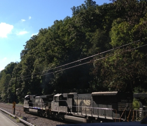 A Norfolk Southern train hauling coal in Landgraff WV