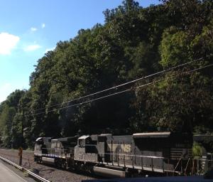 A Norfolk Southern train hauling coal in Landgraff WV